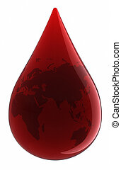 Blood Drop with World Map Clipping path included