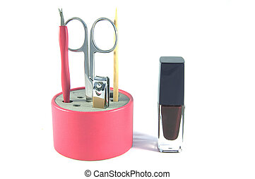 Manicure set and nail polish for women