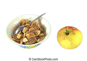 Cornflakes for breakfast and apple