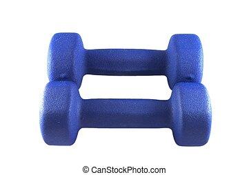 Blue dumbbells for strength