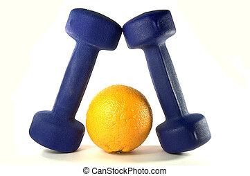 Blue Dumbbels and orange - Blue Dumbbels and tasty orange...