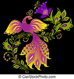 colorful bird and abstract plant on black background -...