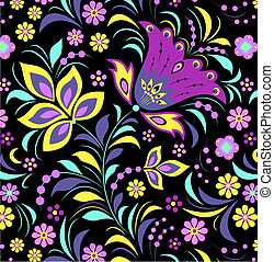 colorful flower on black background - Illustration of...