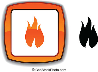 Fire button. - Fire realistic button. Vector illustration. ....
