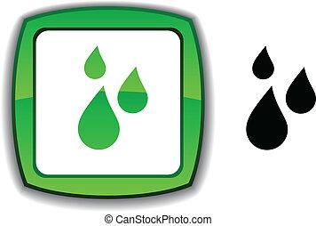 Rain button. - Rain realistic button. Vector illustration....