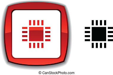 Cpu button - Cpu realistic button Vector illustration