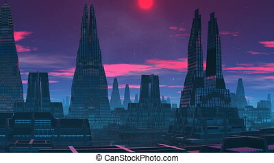 The red moon. A fantastic city.