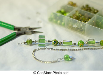 Murano, lampwork, and cane glass necklace - Beautiful apple...