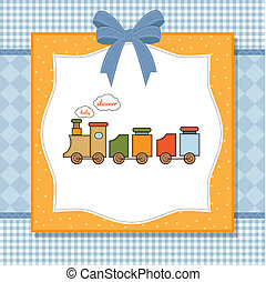 shower card with toy train