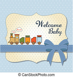 baby shower card with toy train - shower card with toy train