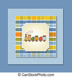 baby shower card with toy train