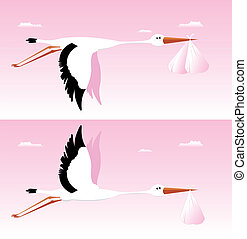 Stork Delivering Baby - It's A Girl