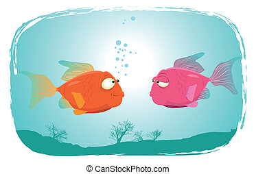 Fishes In Love - Illustration of a couple of cartoon red...