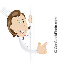 Chef Cook Woman With Blank Sign - Illustration of a cartoon...