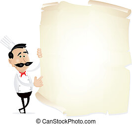 List Menu On A Parchment - Illustration of chef cook showing...