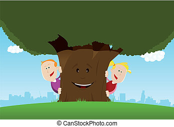Happy Kids And Friendly Tree - Illustration of cute cartoon...
