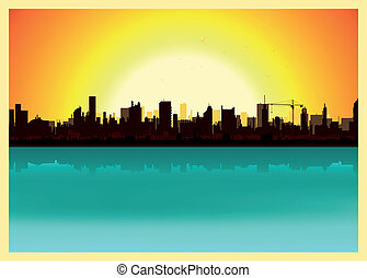 Sunset City Landscape - Illustration of a city landscape in...
