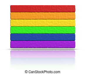 Gay Pride Rainbow Flag made with plasticine material