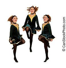 Irish Dancers Trio Performing - Composite of Irish or Celtic...