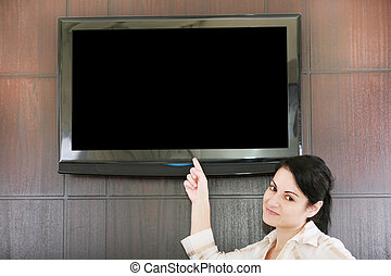 businesswoman presentation with lcd tv