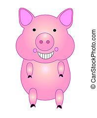 Running pig, cartoon. vector