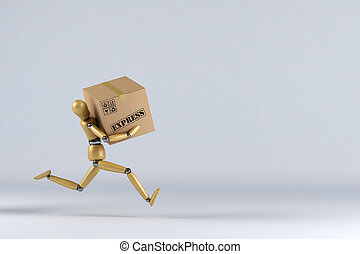 Express Delivery - Wooden mannequin rushing an express...