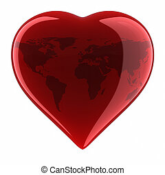 Heart Shape with World Map