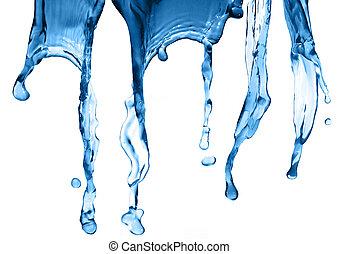 Water Splash Isolated On White. - Close up of splash of...