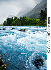 Glacier river - Milky blue glacial water of Briksdal River...