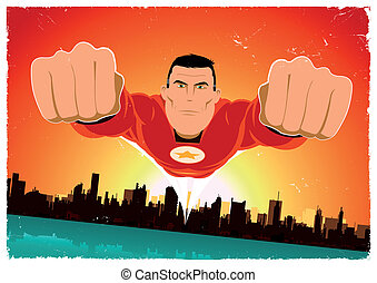 It's A Bird ! - Flying Super Hero - Illustration of a super...