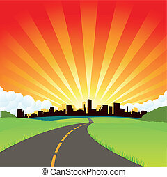 The Road To The City - Illustration of a simple cartoon...