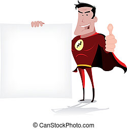 Super Hero Message - Illustration of a cool cartoon super...