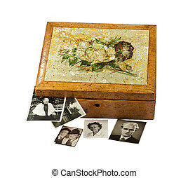 Old wooden box  with photos