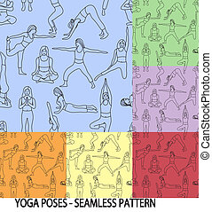 Yoga poses collection - background seamless pattern