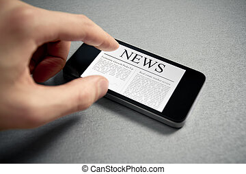 Touching News On Mobile Smartphone - Man hand touch screen...