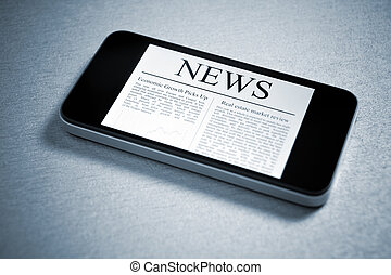 News On Mobile Smartphone - Modern mobile phone lying down...