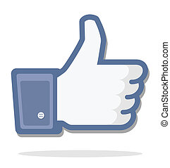 blue thumb up, facebook, editorial use only