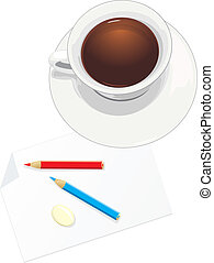 Cup and paper with pencils. Vector illustration