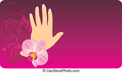 French manicure and orchid. Background for card. Vector...