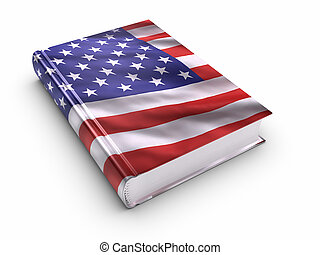 Book covered with American flag