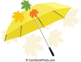 Umbrella and maple leaves. Vector illustration