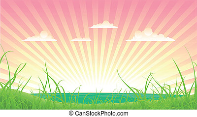 Spring Or Summer Landscape - Illustration of a cartoon...