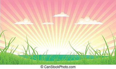 Spring Or Summer Landscape - Illustration of a cartoon...