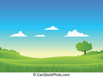 Spring And Summer Country Landscape - Illustration of a...