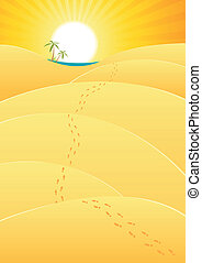 Oasis In The Desert - Illustration of a cartoon long journey...