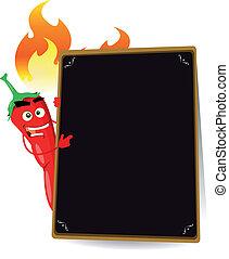 caricatura, quentes, tempero, menu
