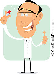Magic Pills Of Mad Doctor - Illustration of a cartoon doctor...
