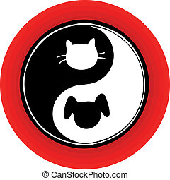 Yin Yang Cat Dog - An atypical yin yang symbol inside a red...