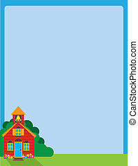 School House - A blue sky background, with a colorful school...