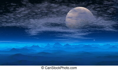 Fantastic planet The big moon - Not high mountains are...